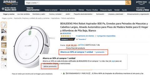 Robot aspirador 50 euros Amazon